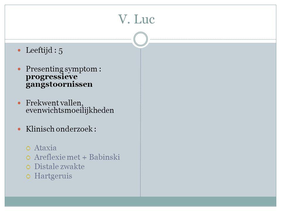 V. Luc Leeftijd : 5 Presenting symptom : progressieve gangstoornissen Frekwent vallen, evenwichtsmoeilijkheden Klinisch onderzoek :  Ataxia  Areflex
