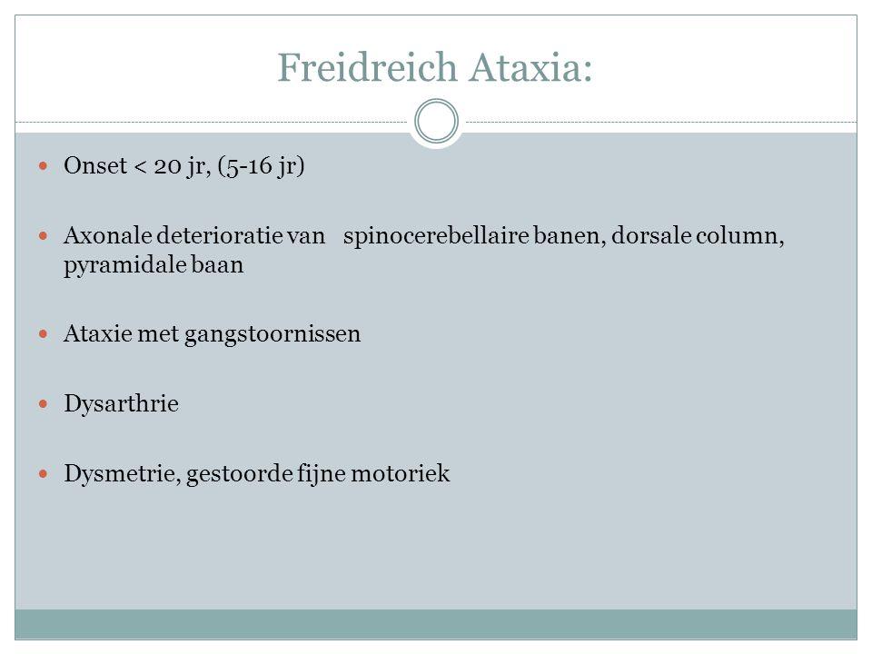 Freidreich Ataxia: Onset < 20 jr, (5-16 jr) Axonale deterioratie van spinocerebellaire banen, dorsale column, pyramidale baan Ataxie met gangstoorniss