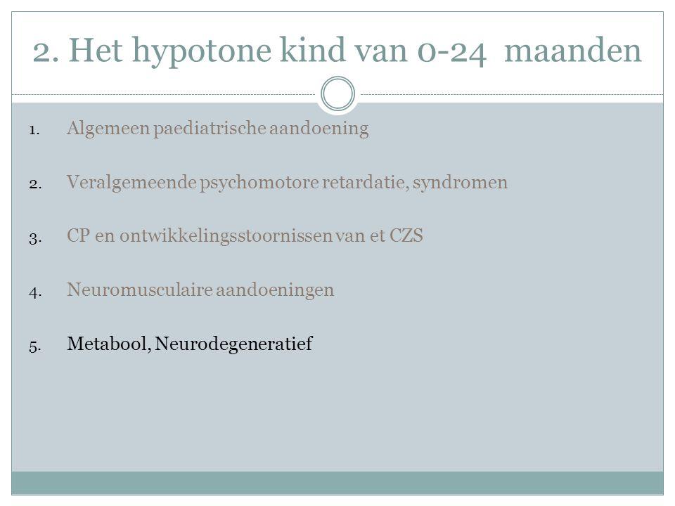 2.Het hypotone kind van 0-24 maanden 1. Algemeen paediatrische aandoening 2.