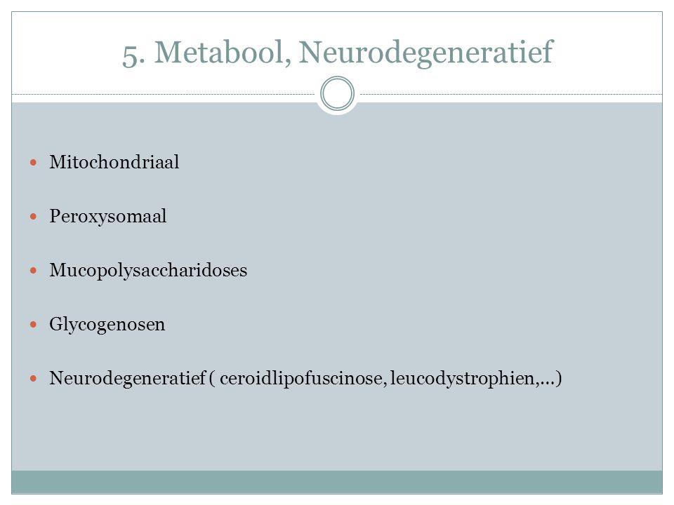 Mitochondriaal Peroxysomaal Mucopolysaccharidoses Glycogenosen Neurodegeneratief ( ceroidlipofuscinose, leucodystrophien,…)
