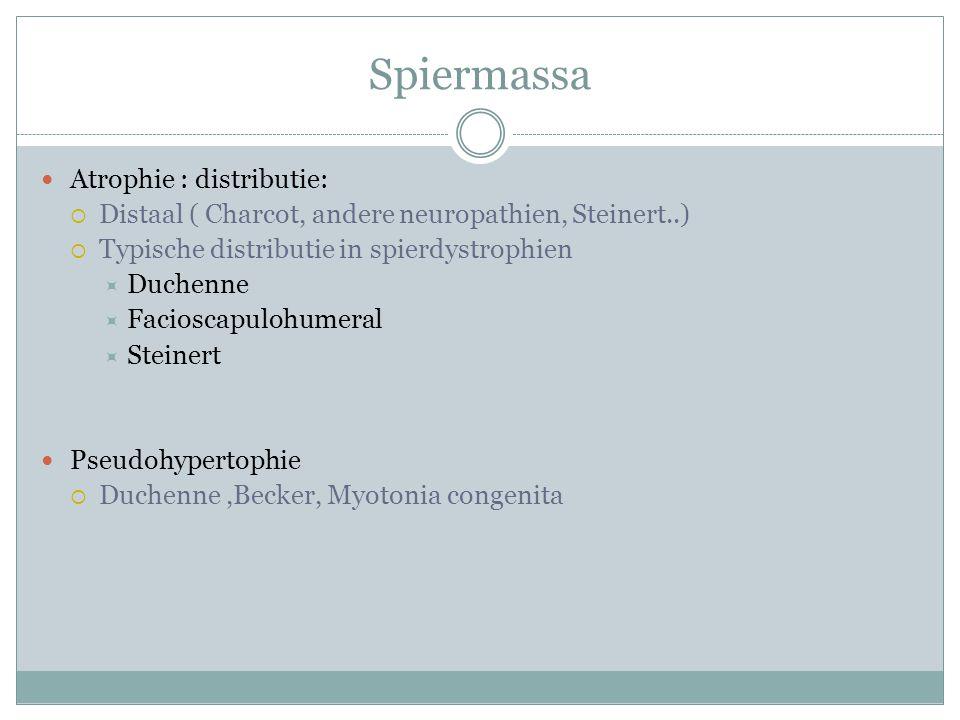 Spiermassa Atrophie : distributie:  Distaal ( Charcot, andere neuropathien, Steinert..)  Typische distributie in spierdystrophien  Duchenne  Facioscapulohumeral  Steinert Pseudohypertophie  Duchenne,Becker, Myotonia congenita