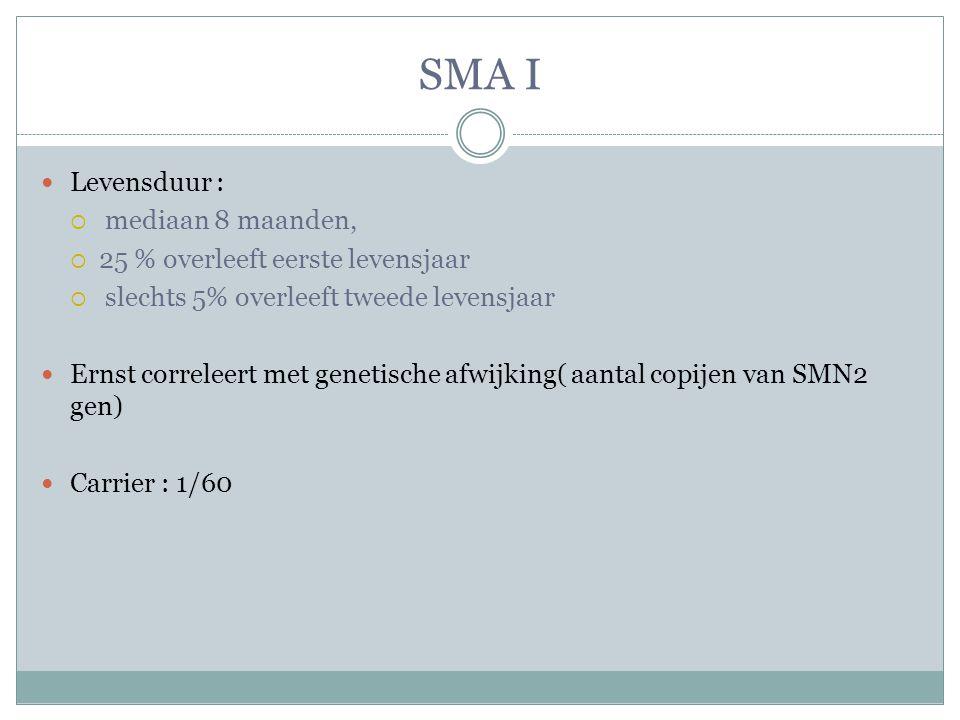 SMA I Levensduur :  mediaan 8 maanden,  25 % overleeft eerste levensjaar  slechts 5% overleeft tweede levensjaar Ernst correleert met genetische afwijking( aantal copijen van SMN2 gen) Carrier : 1/60