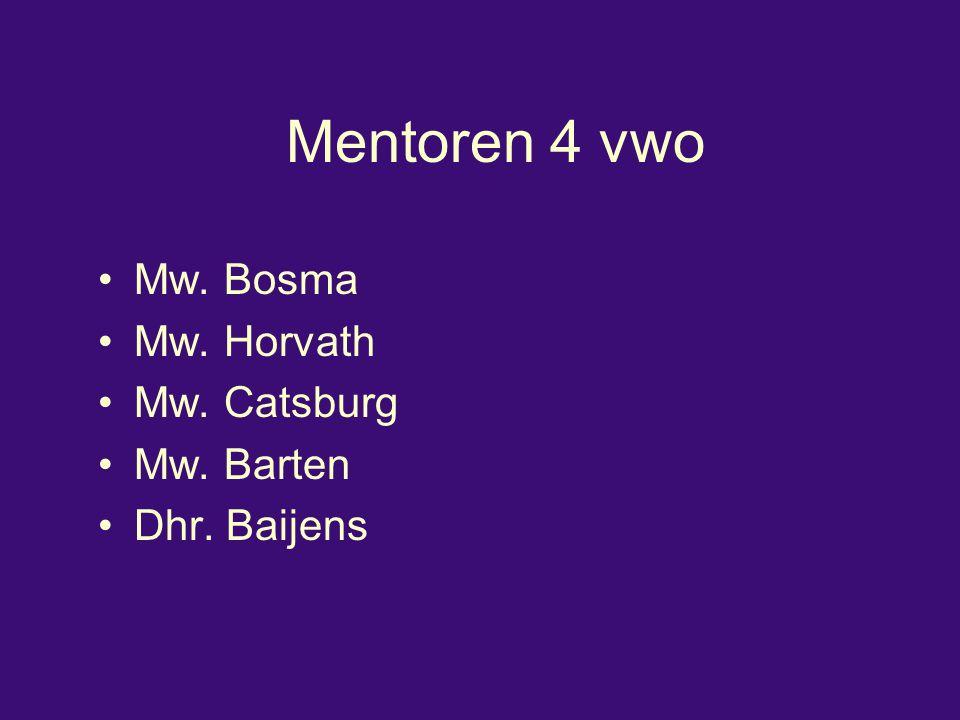 Mentoren 4 vwo Mw. Bosma Mw. Horvath Mw. Catsburg Mw. Barten Dhr. Baijens