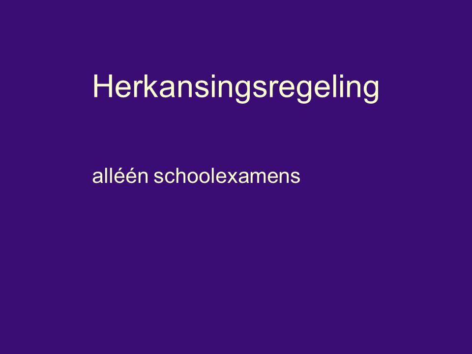 Herkansingsregeling alléén schoolexamens
