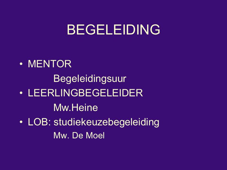BEGELEIDING MENTOR Begeleidingsuur LEERLINGBEGELEIDER Mw.Heine LOB: studiekeuzebegeleiding Mw. De Moel