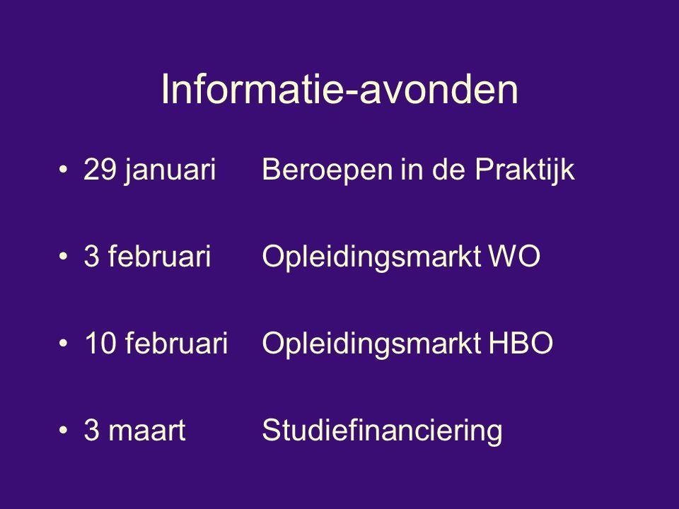 Informatie-avonden 29 januari Beroepen in de Praktijk 3 februari Opleidingsmarkt WO 10 februari Opleidingsmarkt HBO 3 maart Studiefinanciering