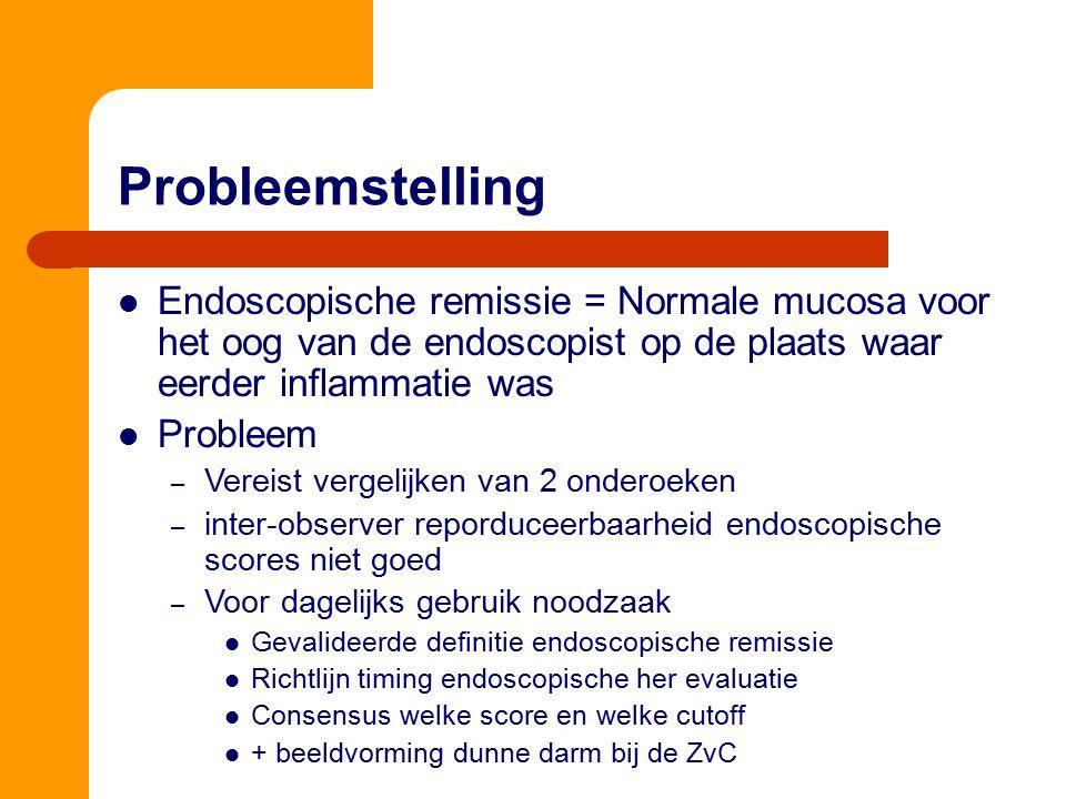 Endoscopische remissie = Normale mucosa voor het oog van de endoscopist op de plaats waar eerder inflammatie was Probleem – Vereist vergelijken van 2
