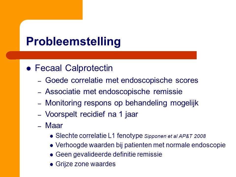 Fecaal Calprotectin – Goede correlatie met endoscopische scores – Associatie met endoscopische remissie – Monitoring respons op behandeling mogelijk –