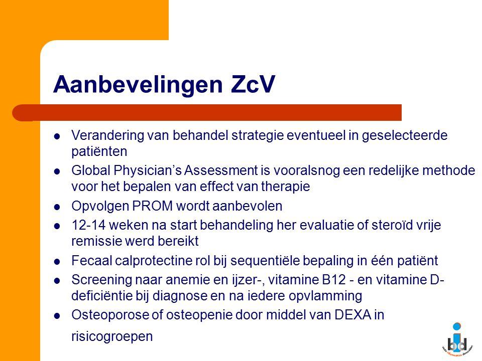 Aanbevelingen ZcV Verandering van behandel strategie eventueel in geselecteerde patiënten Global Physician's Assessment is vooralsnog een redelijke me