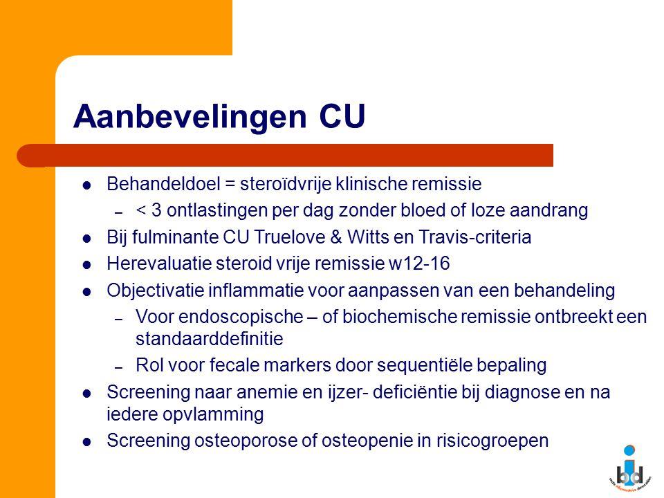 Aanbevelingen CU Behandeldoel = steroïdvrije klinische remissie – < 3 ontlastingen per dag zonder bloed of loze aandrang Bij fulminante CU Truelove &