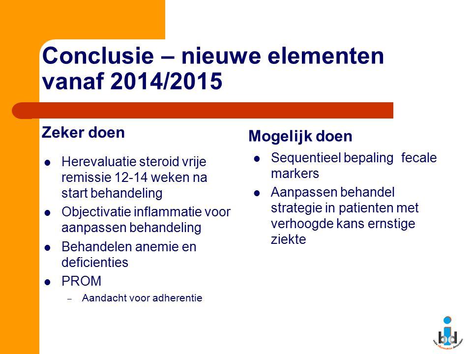 Conclusie – nieuwe elementen vanaf 2014/2015 Zeker doen Herevaluatie steroid vrije remissie 12-14 weken na start behandeling Objectivatie inflammatie