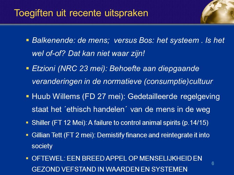Toegiften uit recente uitspraken  Balkenende: de mens; versus Bos: het systeem.