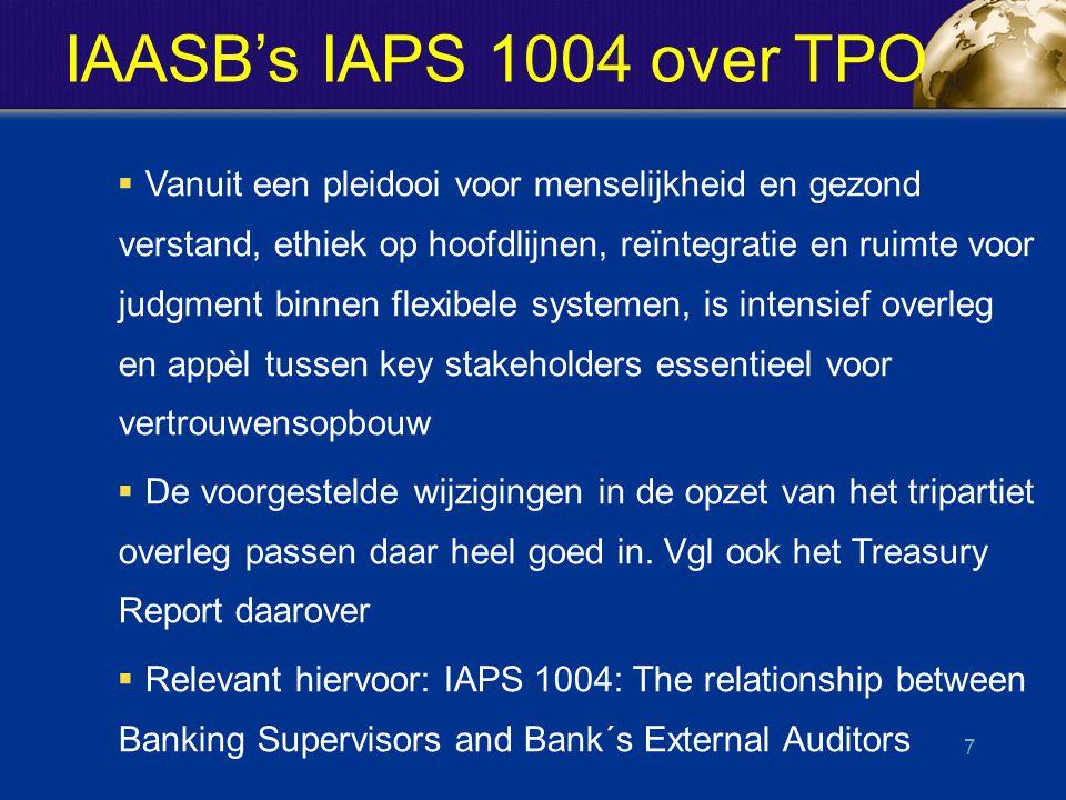 IAASB's IAPS 1004 over TPO  Vanuit een pleidooi voor menselijkheid en gezond verstand, ethiek op hoofdlijnen, reïntegratie en ruimte voor judgment binnen flexibele systemen, is intensief overleg en appèl tussen key stakeholders essentieel voor vertrouwensopbouw  De voorgestelde wijzigingen in de opzet van het tripartiet overleg passen daar heel goed in.