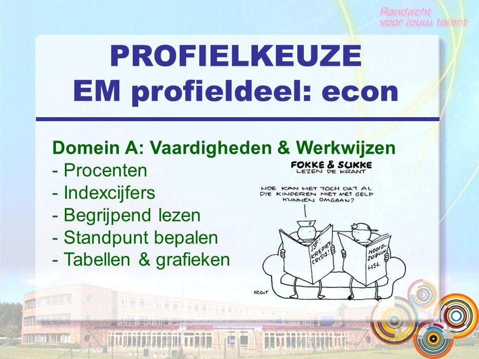 PROFIELKEUZE EM profieldeel: econ Domein A: Vaardigheden & Werkwijzen - Procenten - Indexcijfers - Begrijpend lezen - Standpunt bepalen - Tabellen & grafieken
