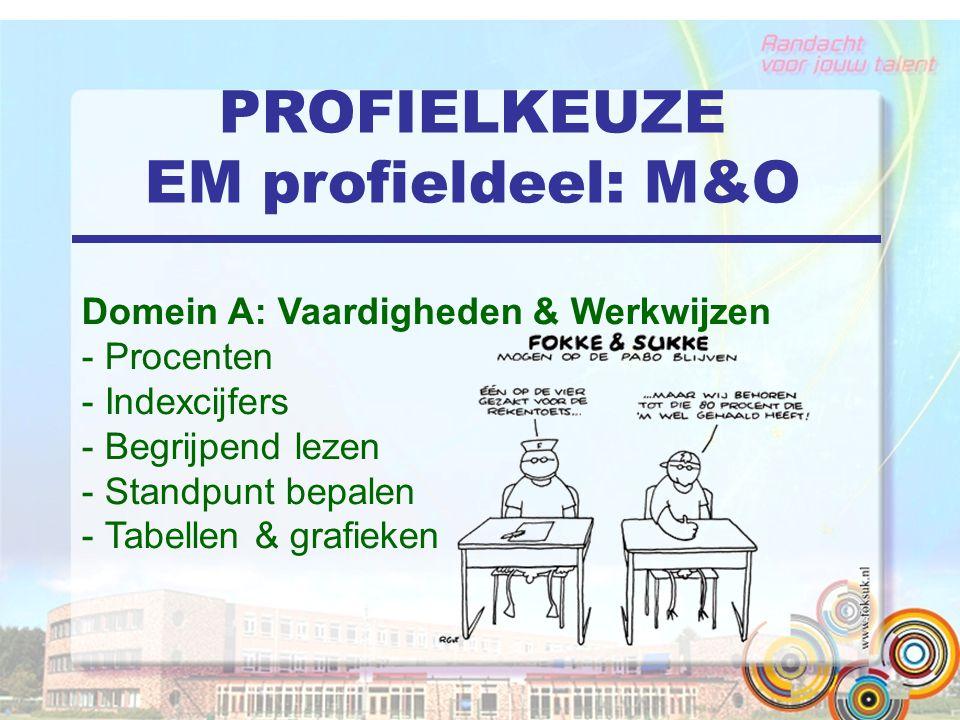 PROFIELKEUZE EM profieldeel: M&O Domein A: Vaardigheden & Werkwijzen - Procenten - Indexcijfers - Begrijpend lezen - Standpunt bepalen - Tabellen & grafieken