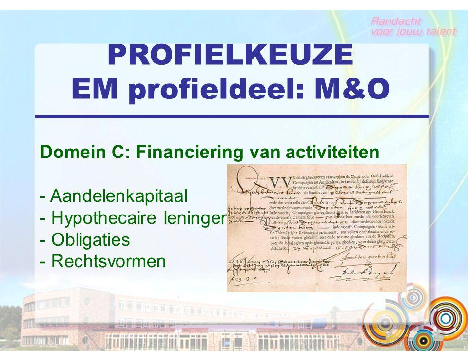 PROFIELKEUZE EM profieldeel: M&O Domein C: Financiering van activiteiten - Aandelenkapitaal - Hypothecaire leningen - Obligaties - Rechtsvormen