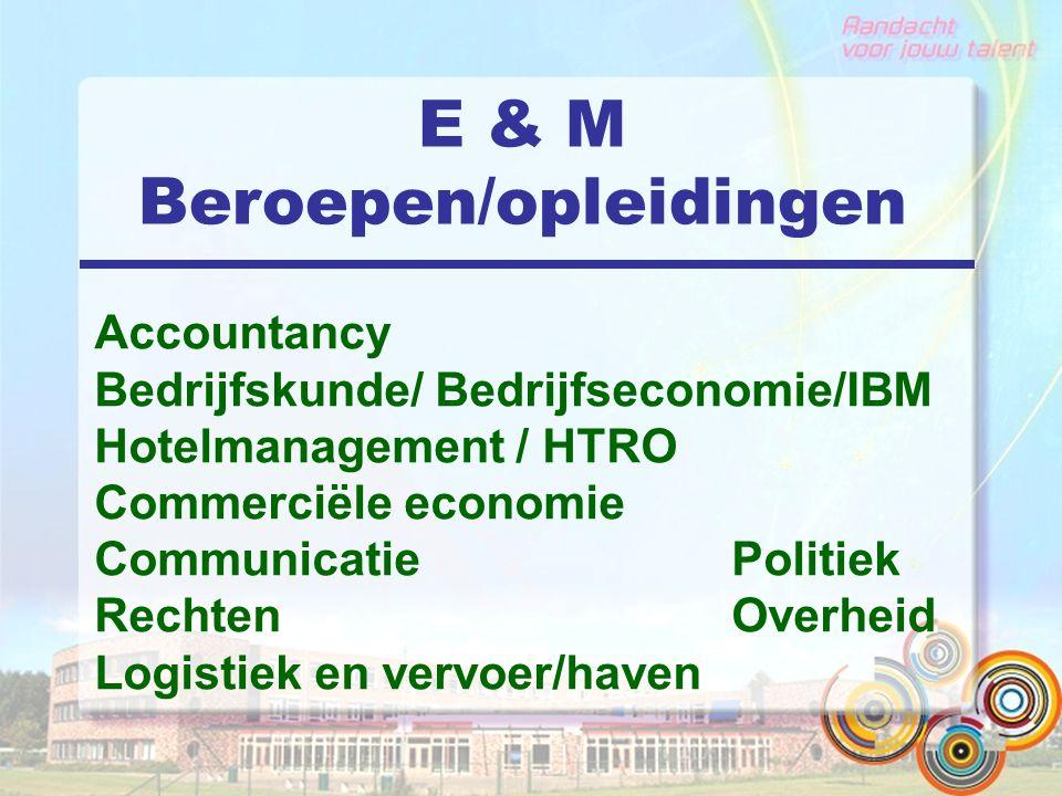 E & M Beroepen/opleidingen Accountancy Bedrijfskunde/ Bedrijfseconomie/IBM Hotelmanagement / HTRO Commerciële economie CommunicatiePolitiek Rechten Overheid Logistiek en vervoer/haven