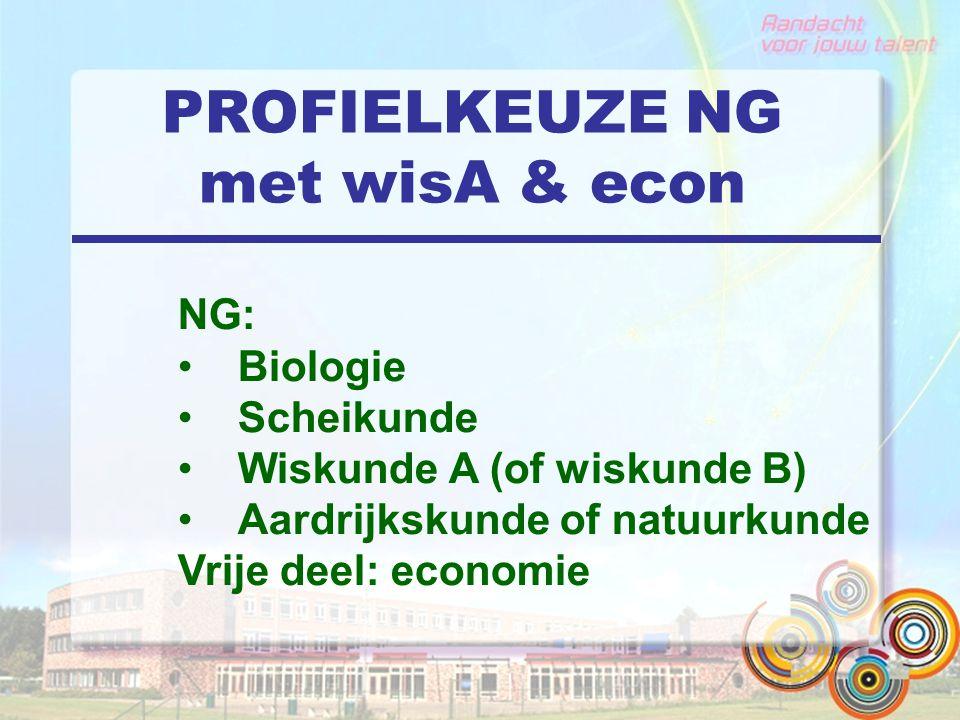 PROFIELKEUZE NG met wisA & econ NG: Biologie Scheikunde Wiskunde A (of wiskunde B) Aardrijkskunde of natuurkunde Vrije deel: economie