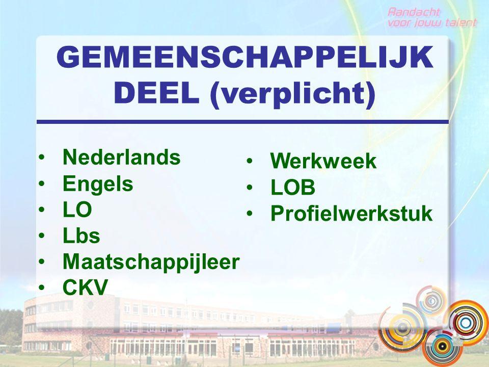 GEMEENSCHAPPELIJK DEEL (verplicht) Nederlands Engels LO Lbs Maatschappijleer CKV Werkweek LOB Profielwerkstuk