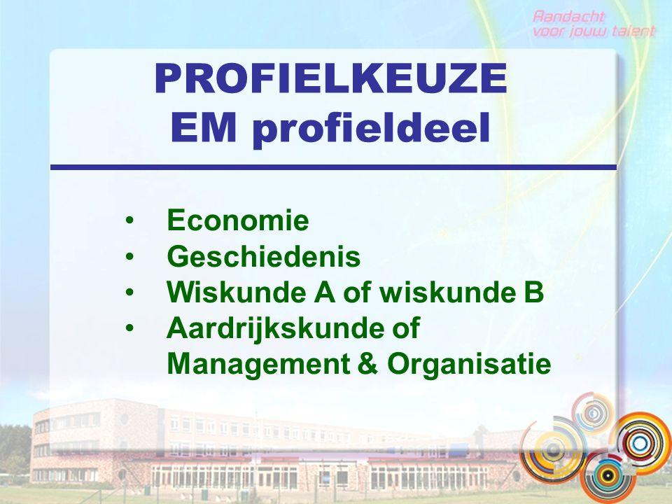 PROFIELKEUZE EM profieldeel Economie Geschiedenis Wiskunde A of wiskunde B Aardrijkskunde of Management & Organisatie