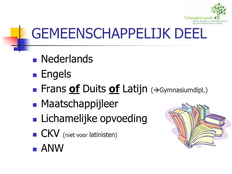 GEMEENSCHAPPELIJK DEEL Nederlands Engels Frans of Duits of Latijn (  Gymnasiumdipl.) Maatschappijleer Lichamelijke opvoeding CKV (niet voor latiniste