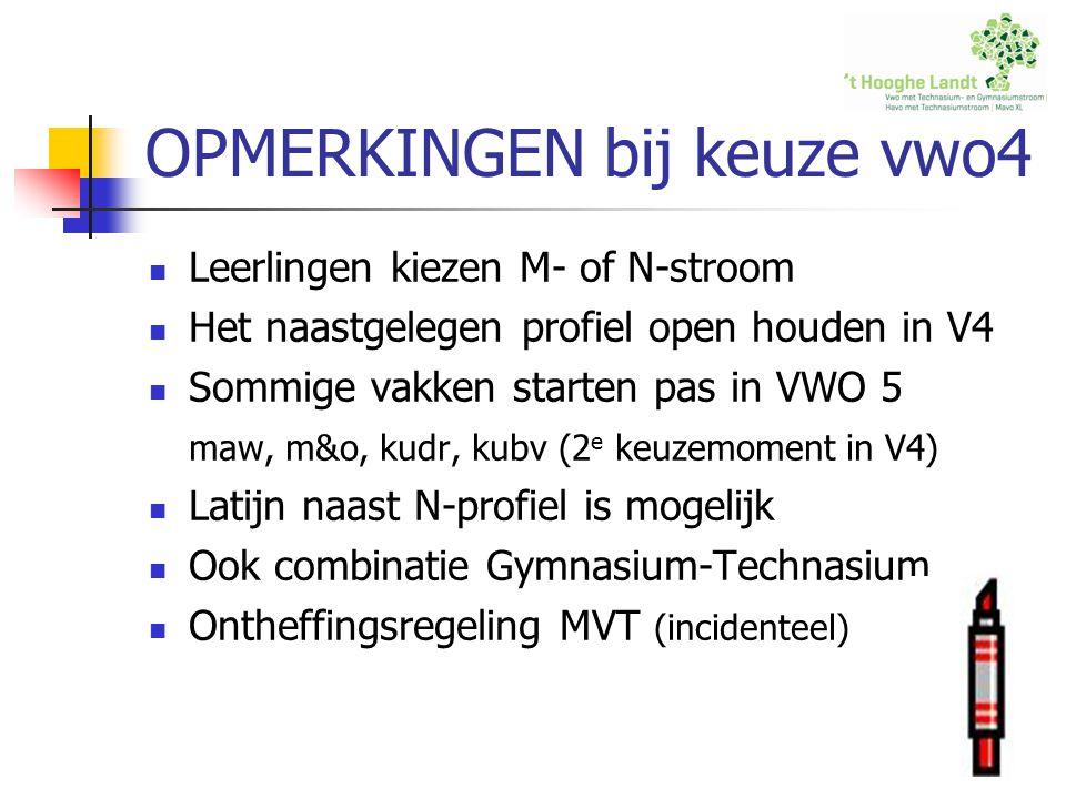 OPMERKINGEN bij keuze vwo4 Leerlingen kiezen M- of N-stroom Het naastgelegen profiel open houden in V4 Sommige vakken starten pas in VWO 5 maw, m&o, k