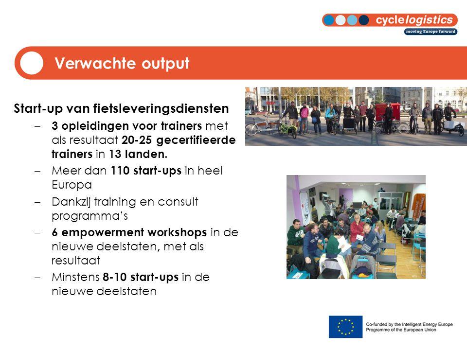 Verwachte output Start-up van fietsleveringsdiensten  3 opleidingen voor trainers met als resultaat 20-25 gecertifieerde trainers in 13 landen.  Mee