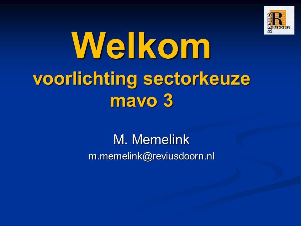 Welkom voorlichting sectorkeuze mavo 3 M. Memelink m.memelink@reviusdoorn.nl