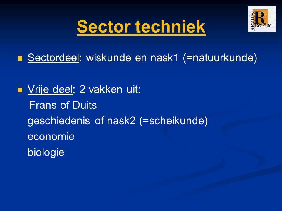 Sector techniek Sectordeel: wiskunde en nask1 (=natuurkunde) Vrije deel: 2 vakken uit: Frans of Duits geschiedenis of nask2 (=scheikunde) economie bio