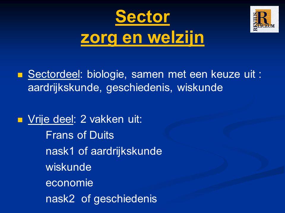 Sector zorg en welzijn Sectordeel: biologie, samen met een keuze uit : aardrijkskunde, geschiedenis, wiskunde Vrije deel: 2 vakken uit: Frans of Duits