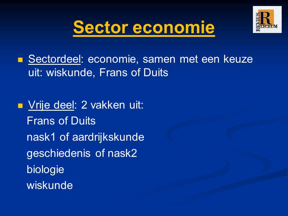 Sector economie Sectordeel: economie, samen met een keuze uit: wiskunde, Frans of Duits Vrije deel: 2 vakken uit: Frans of Duits nask1 of aardrijkskunde geschiedenis of nask2 biologie wiskunde