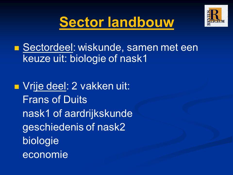 Sector landbouw Sectordeel: wiskunde, samen met een keuze uit: biologie of nask1 Vrije deel: 2 vakken uit: Frans of Duits nask1 of aardrijkskunde geschiedenis of nask2 biologie economie