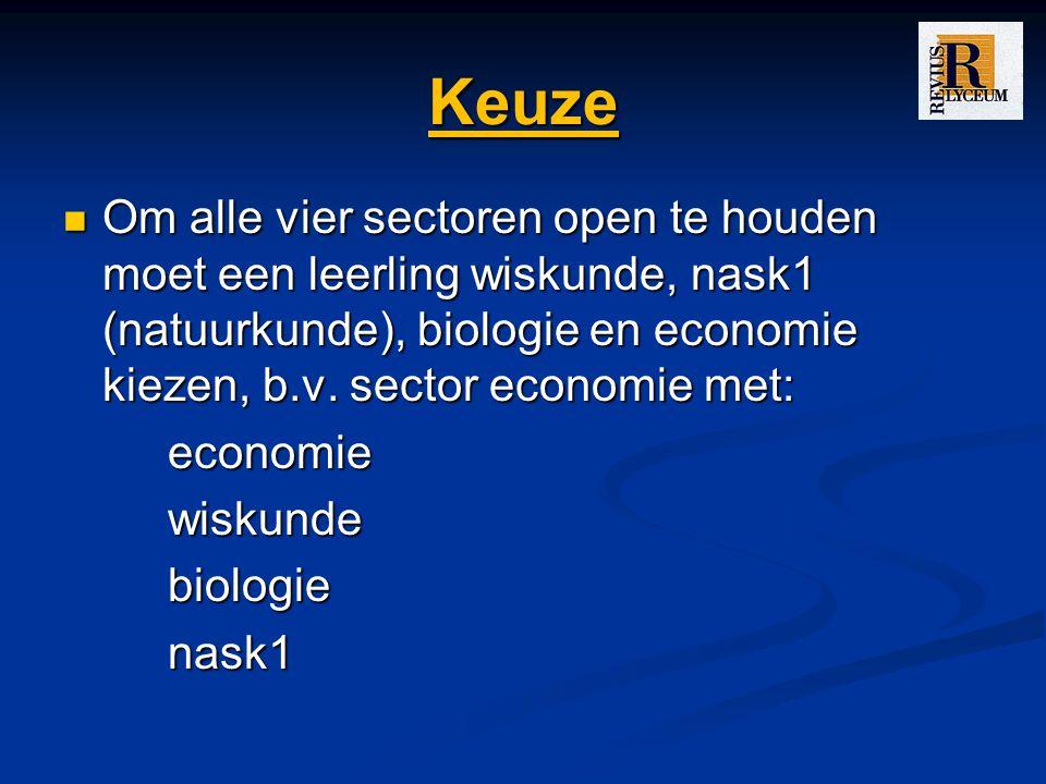 Keuze Om alle vier sectoren open te houden moet een leerling wiskunde, nask1 (natuurkunde), biologie en economie kiezen, b.v. sector economie met: Om