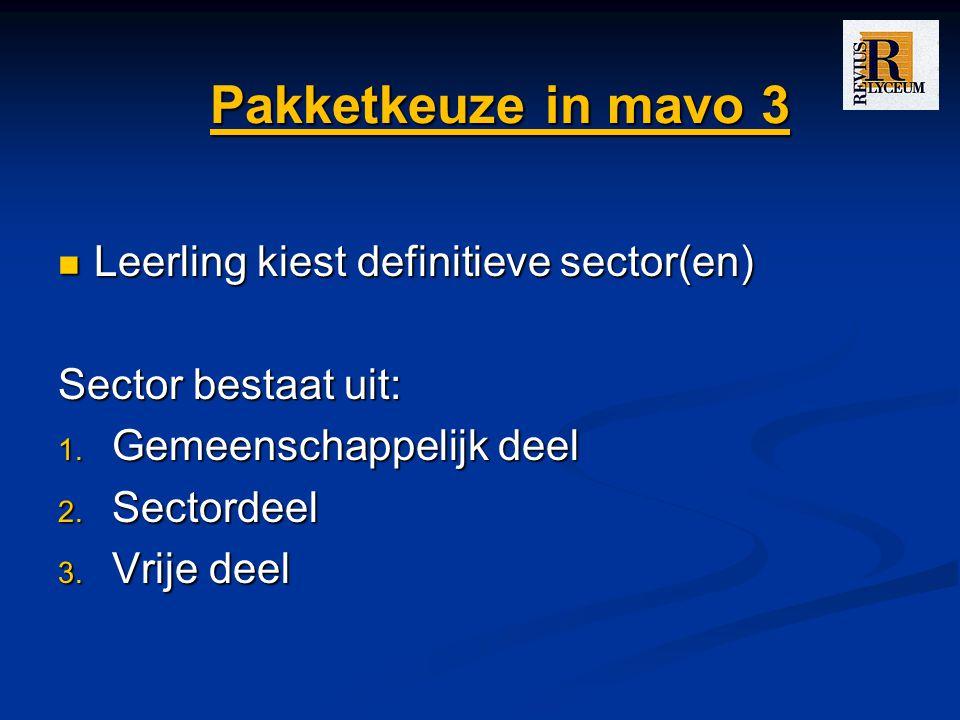 Pakketkeuze in mavo 3 Leerling kiest definitieve sector(en) Leerling kiest definitieve sector(en) Sector bestaat uit: 1. Gemeenschappelijk deel 2. Sec