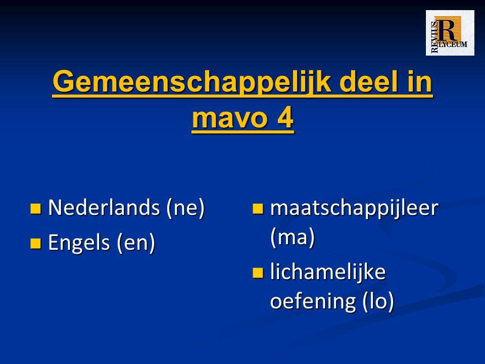 Gemeenschappelijk deel in mavo 4 Nederlands (ne) Nederlands (ne) Engels (en) Engels (en) maatschappijleer (ma) lichamelijke oefening (lo)