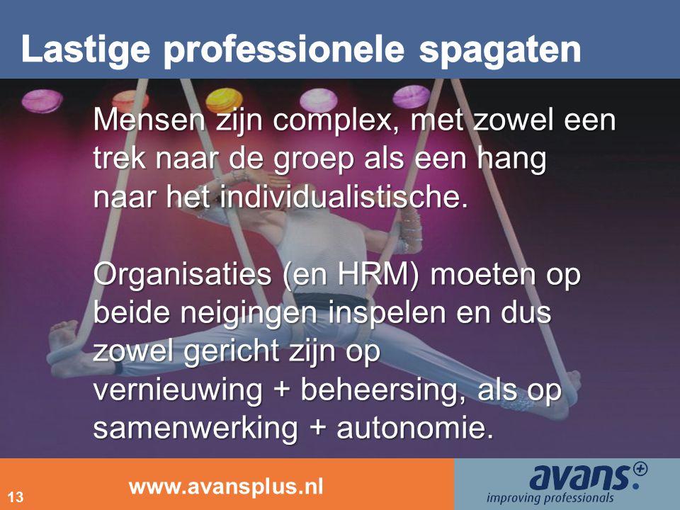 www.avansplus.nl 13 Mensen zijn complex, met zowel een trek naar de groep als een hang naar het individualistische. Organisaties (en HRM) moeten op be