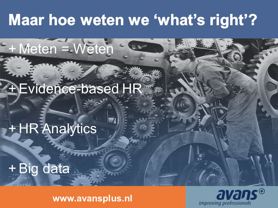 www.avansplus.nl +Meten = Weten +Evidence-based HR +HR Analytics +Big data