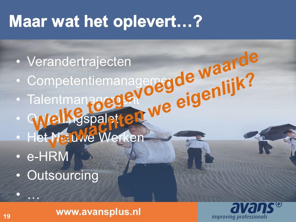 www.avansplus.nl 19 Verandertrajecten Competentiemanagement Talentmanagement Opleidingspalet Het Nieuwe Werken e-HRM Outsourcing … Welke toegevoegde w