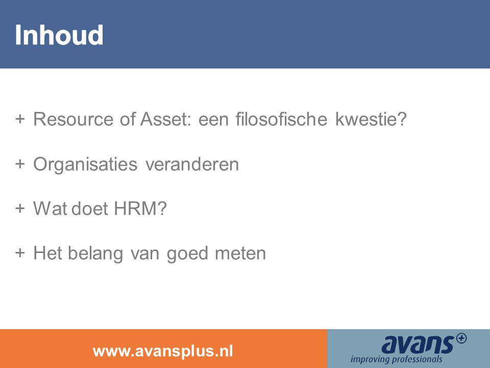 www.avansplus.nl +Resource of Asset: een filosofische kwestie? +Organisaties veranderen +Wat doet HRM? +Het belang van goed meten