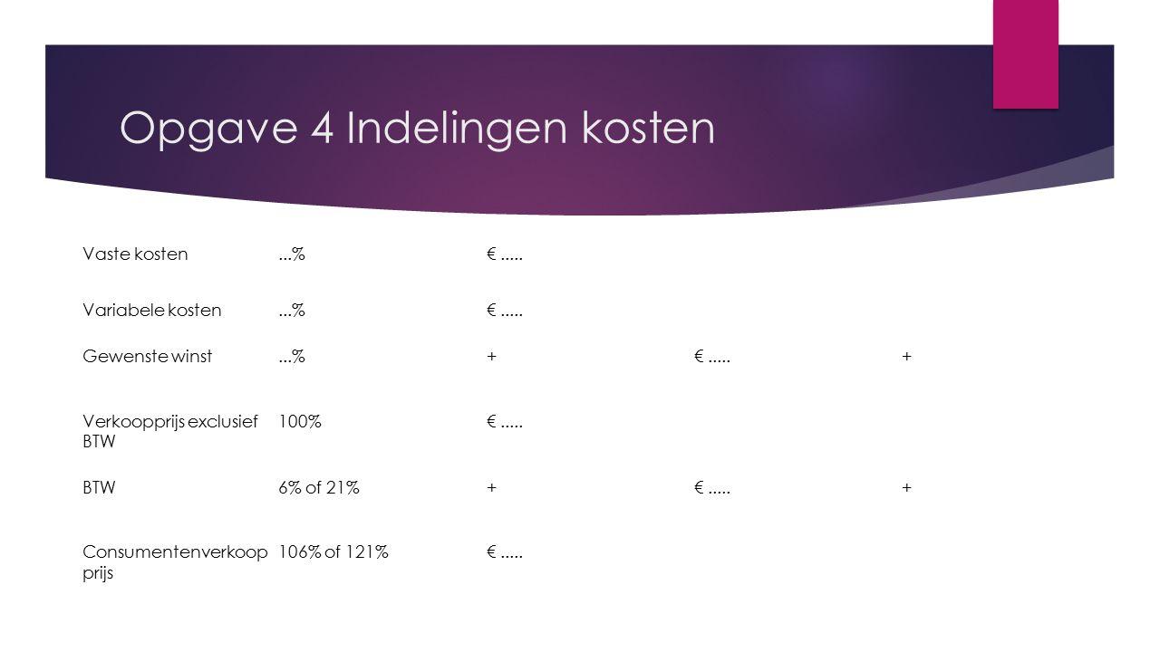 Opgave 4 Indelingen kosten Vaste kosten...%€..... Variabele kosten...%€..... Gewenste winst...%+€.....+ Verkoopprijs exclusief BTW 100%€..... BTW6% of