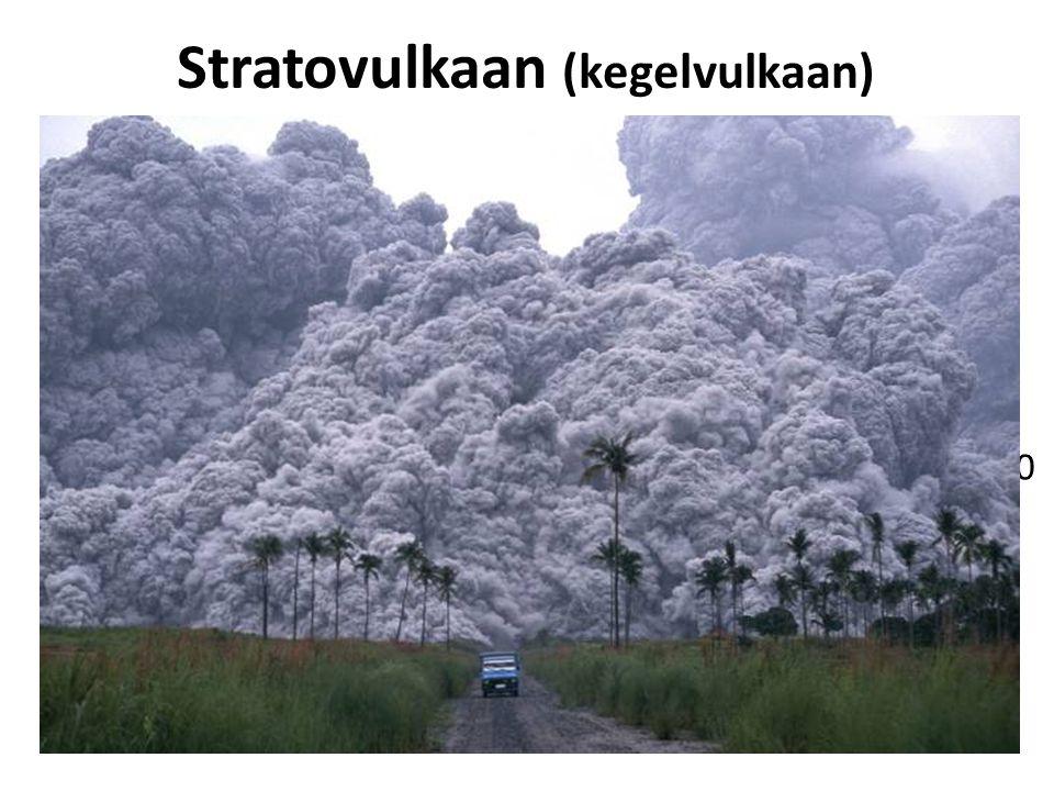 Stratovulkaan (kegelvulkaan) Kenmerken: Bij convergente plaatbeweging   Taaie magma (= stroperig dus een langzame verplaatsing) Hoge steile hellinge