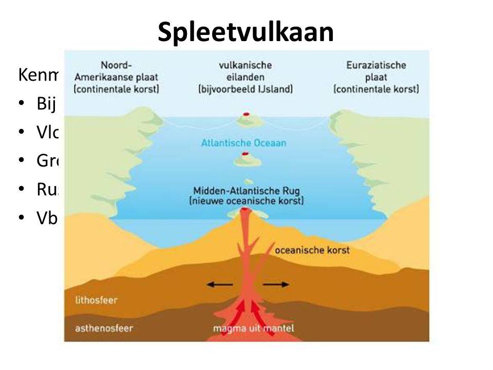 Spleetvulkaan Kenmerken: Bij divergente plaatbeweging   Vloeibare magma uit spleten Grote dikke pakketten lava gevormd. Rustige uitbarsting Vb. IJsl