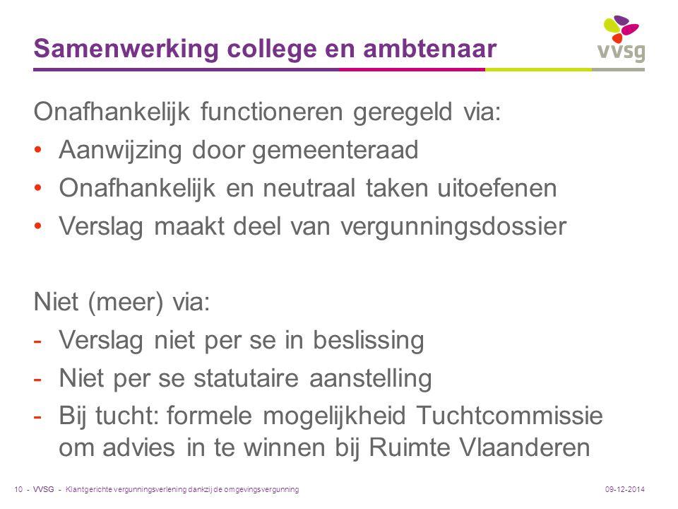 VVSG - Samenwerking college en ambtenaar Onafhankelijk functioneren geregeld via: Aanwijzing door gemeenteraad Onafhankelijk en neutraal taken uitoefe