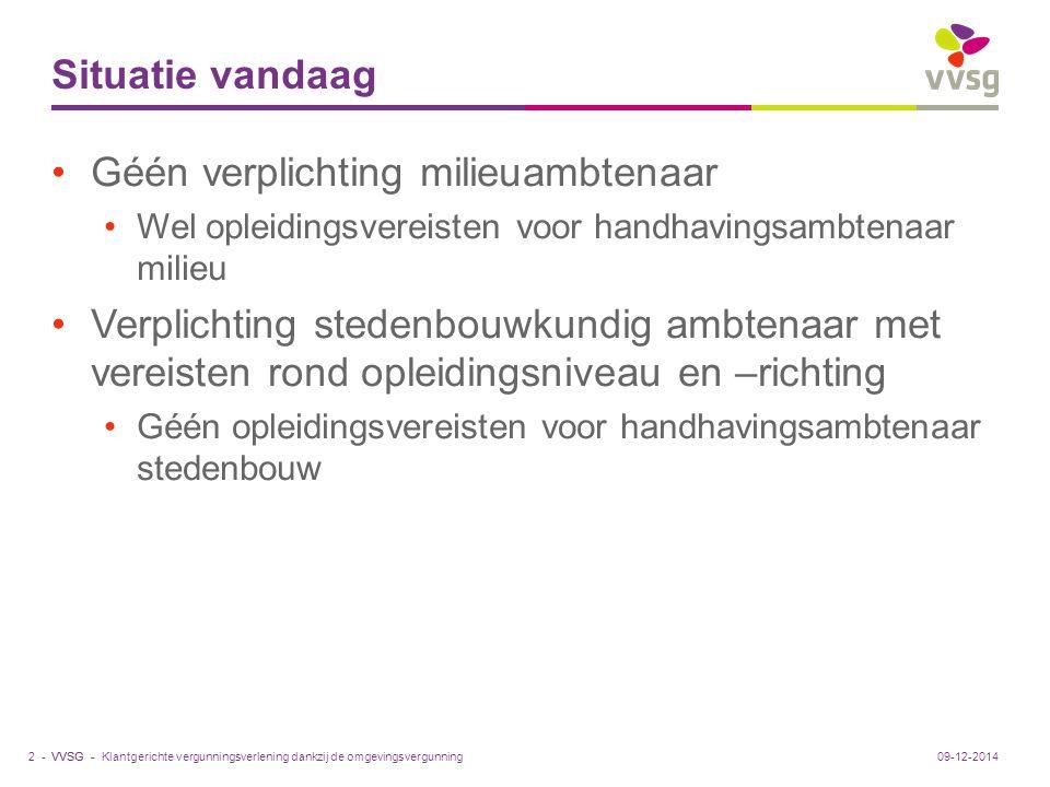 VVSG - Ondersteuning Bij vergunningsaanvraag via POVC of adviesinstantie Via intergemeentelijk samenwerkingsverband VVSG pleitte om ook facultatief advies van POVC mogelijk te maken Algemeen: via de Vlaamse 'Atria' Vlaanderen kan subsidies ter beschikking stellen voor opleiding en ondersteuning Klantgerichte vergunningsverlening dankzij de omgevingsvergunning13 -09-12-2014