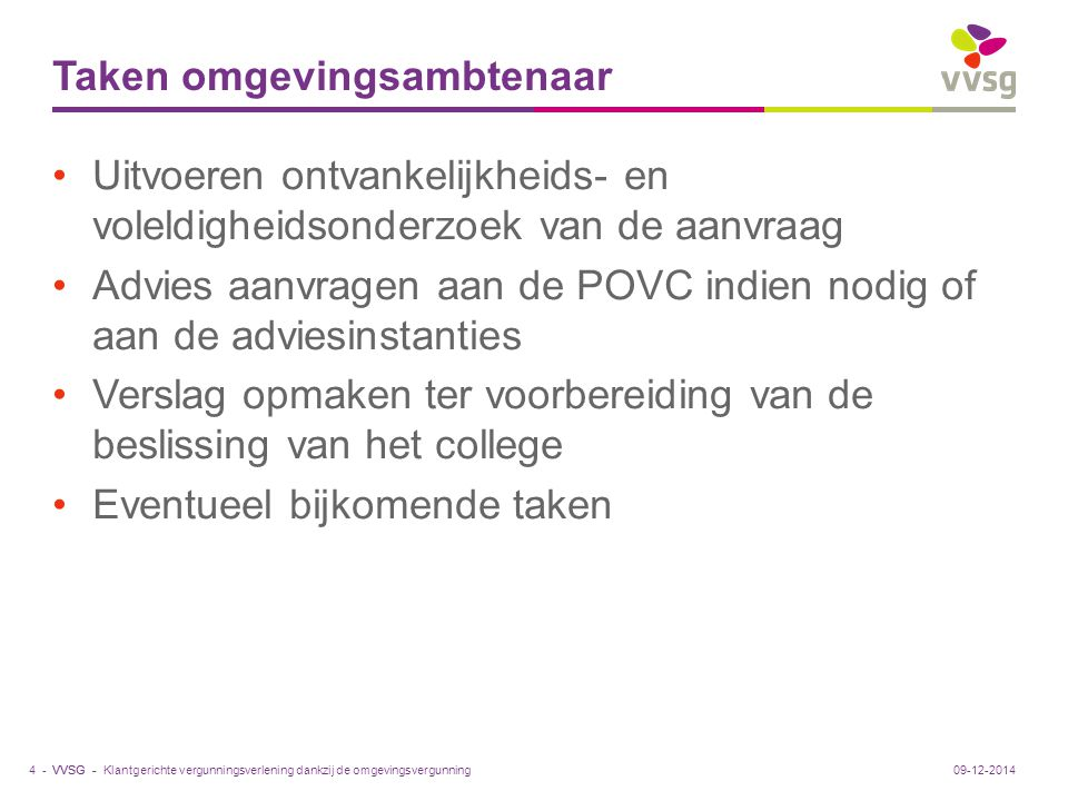 VVSG - Taken omgevingsambtenaar Uitvoeren ontvankelijkheids- en voleldigheidsonderzoek van de aanvraag Advies aanvragen aan de POVC indien nodig of aa