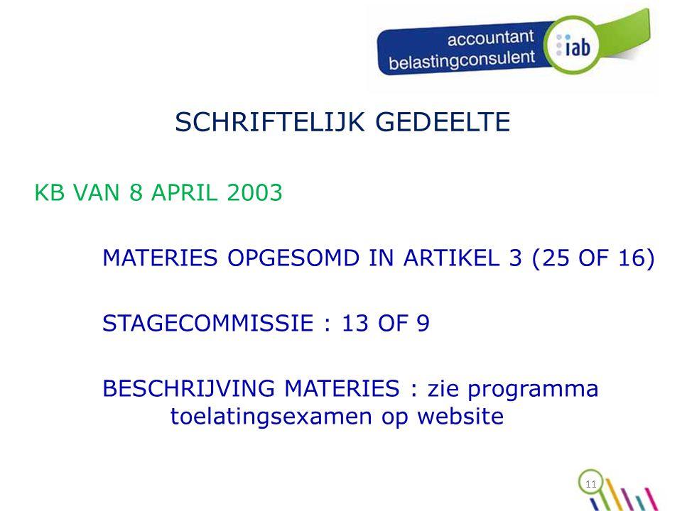 11 SCHRIFTELIJK GEDEELTE KB VAN 8 APRIL 2003 MATERIES OPGESOMD IN ARTIKEL 3 (25 OF 16) STAGECOMMISSIE : 13 OF 9 BESCHRIJVING MATERIES : zie programma toelatingsexamen op website
