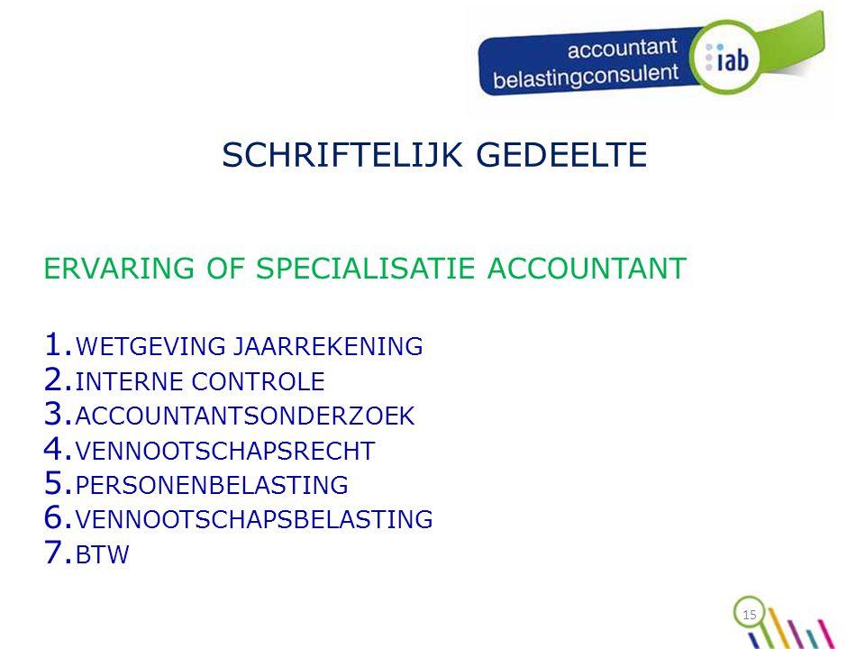 15 SCHRIFTELIJK GEDEELTE ERVARING OF SPECIALISATIE ACCOUNTANT 1.