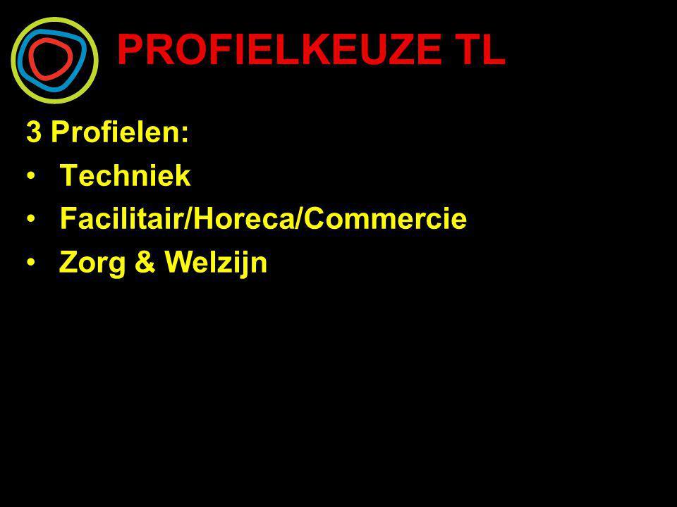 PROFIELKEUZE TL 3 Profielen: Techniek Facilitair/Horeca/Commercie Zorg & Welzijn