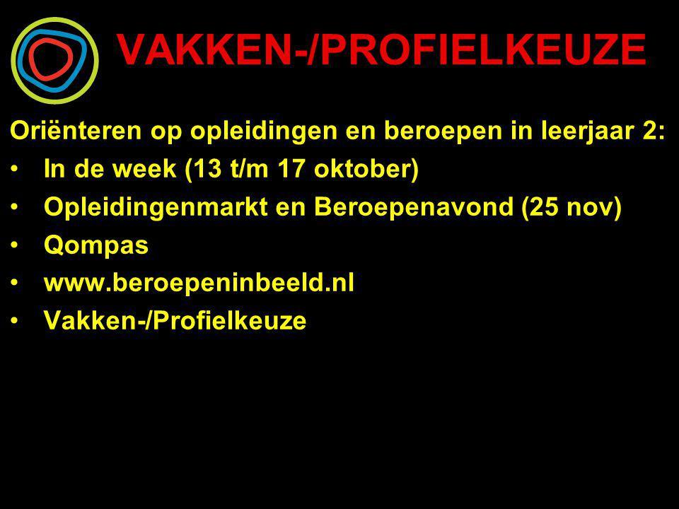 VAKKEN-/PROFIELKEUZE Oriënteren op opleidingen en beroepen in leerjaar 2: In de week (13 t/m 17 oktober) Opleidingenmarkt en Beroepenavond (25 nov) Qo