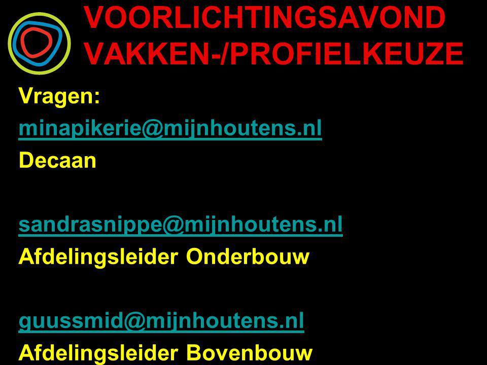 VOORLICHTINGSAVOND VAKKEN-/PROFIELKEUZE Vragen: minapikerie@mijnhoutens.nl Decaan sandrasnippe@mijnhoutens.nl Afdelingsleider Onderbouw guussmid@mijnh